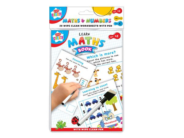 Kids Create Educational - Maths And Numbers Wipe Clean Book