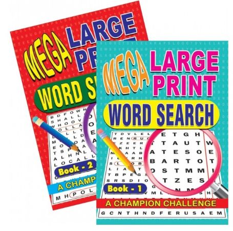 6x Mega Large Print Word Search Puzzles-  Books 1 And 2  (mto)