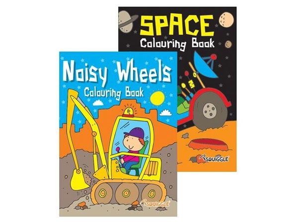 12x Space And Noisy Wheels Colouring Book  (mto)