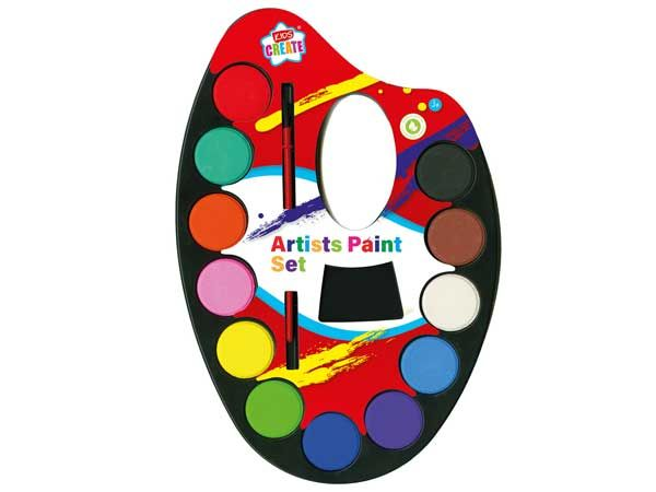 Kids Create Paint Palette With Brush
