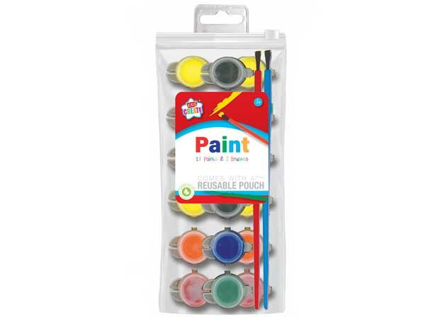 Kids Create 18 Paints And 2 Brushes Set
