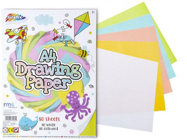 Grafix Drawing Paper White And Colour 80 Sheet