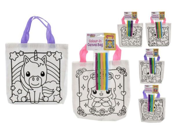 Kreative Kids Girls Colour In Canvas Bag