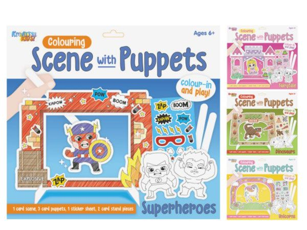 12x Kreative Kids Colour Your Own Scene With Puppets - Assorted