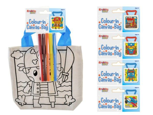 Kreative Kids Boys Colour In Canvas Bag