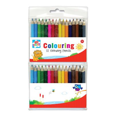 Kids Create 32pk Colouring Pencil Crayons (fuj)