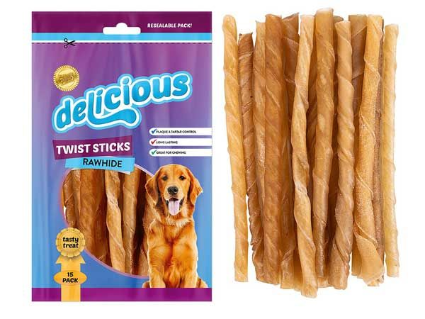 World Of Pets - Delicious 15pce Rawhide Twists