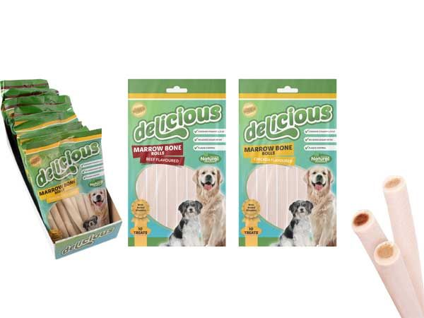 World Of Pets - Delicious 10pce Marrowbone Beef / Chicken Flavour Rolls, At Rand