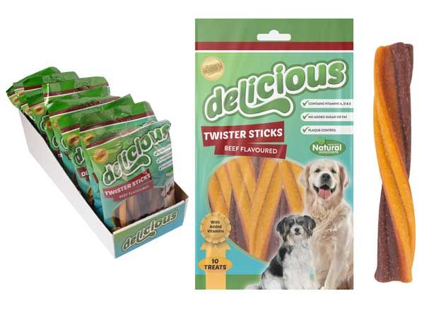 World Of Pets - Delicious 10 piece Tasty Healthy Beef Twisters