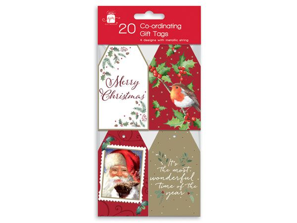 Giftmaker 20pk Co-Ordinating Christmas Gift Tags - Elegant Traditions Designs
