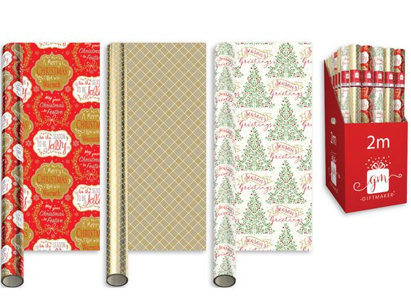 50 Rolls Giftmaker 2 Metre Foil Christmas Gift Wrap - Traditional Designs