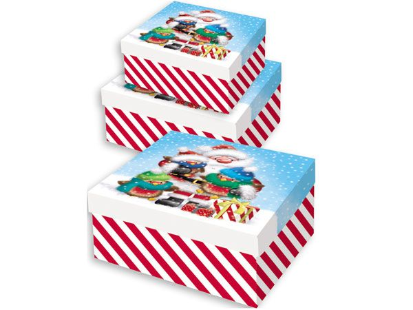 3pce Nested Christmas Gift Boxes - Cute Design